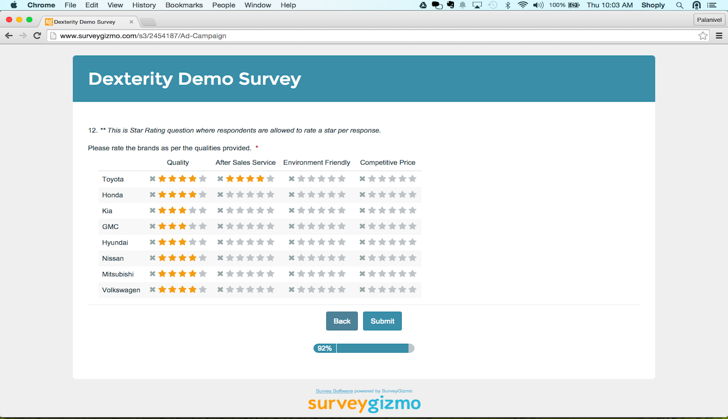 Survey programming: Star rating