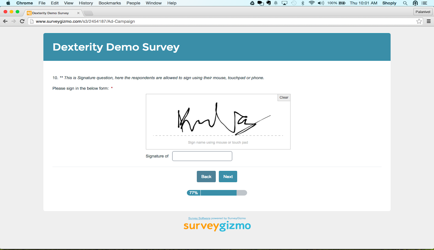 Survey programming: Signature